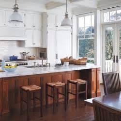 White Kitchen Wood Island Kitchen Style Wood Bottoms White Tops Design