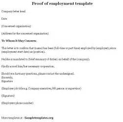 proof of employment letter template proof of employment template