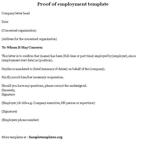 Proof Of Employment Letter To Whom It May Concern Proof Of Employment Template Of Proof Of Employment Sle Templates