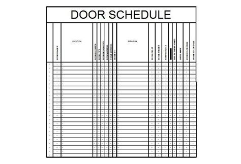 architectural schedule template door schedule template cad file cadblocksfree cad