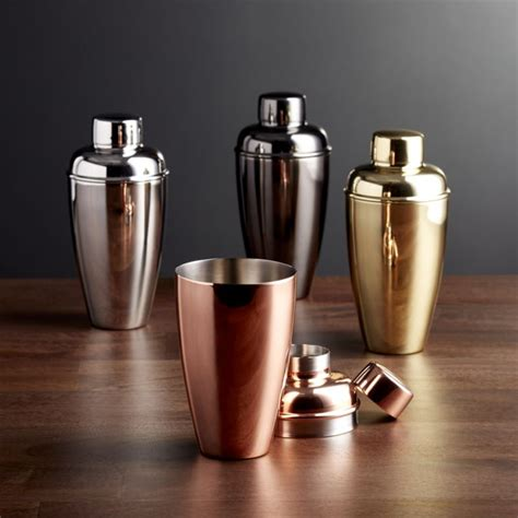 crate and barrel barware stainless steel cocktail shakers crate and barrel