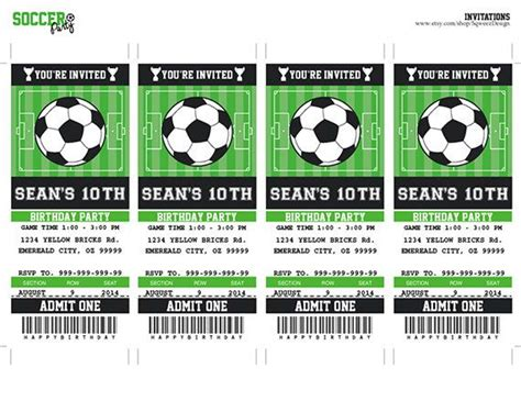 printable soccer invitation templates soccer invitation soccer birthday soccer party ticket