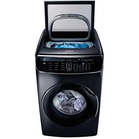 samsung washer samsung 6 0 total cu ft high efficiency flexwash washer in black stainless wv60m9900av the