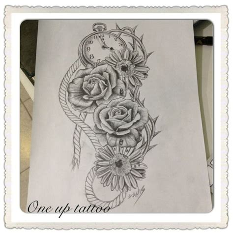 bed of roses tattoo roses rope sketch oneuptattoo clock sketch