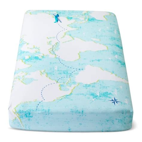 light blue crib sheet fitted crib sheet map cloud island light blue target