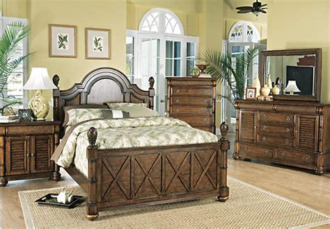 cindy crawford bedroom set cindy crawford home key west dark pine panel 5 pc king