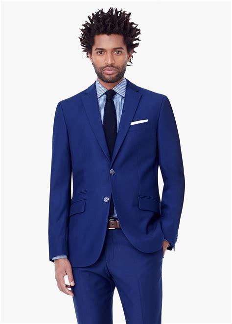blue pattern men s suit mango ticket pocket pattern suit blazer in blue for men lyst