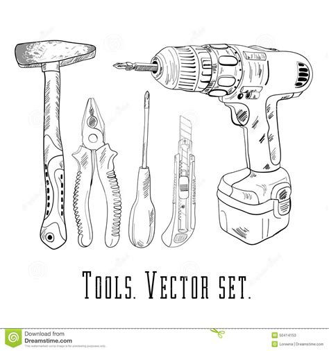 draw tool design working tools icon set stock vector image 50414153