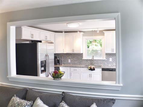wall cut out between kitchen and living room ideas home