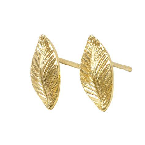 Leaf Stud Earrings 18ct gold vermeil leaf stud earrings by mills
