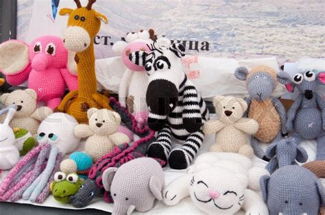Handcrafted Toys - knitted soft toys handmade stock photo colourbox