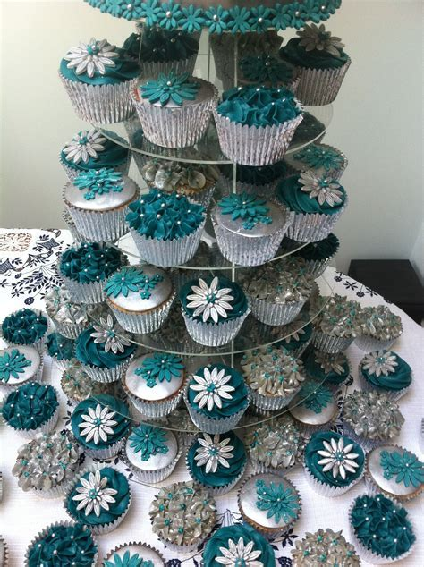 Teal and silver Wedding Cake   80 cupcakes   Wedding