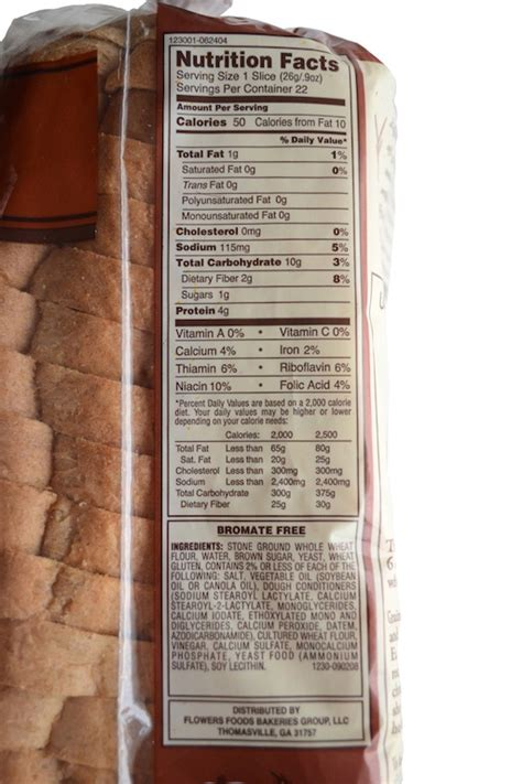 2 whole grain toast calories nature s own whole wheat bread nutrition label besto