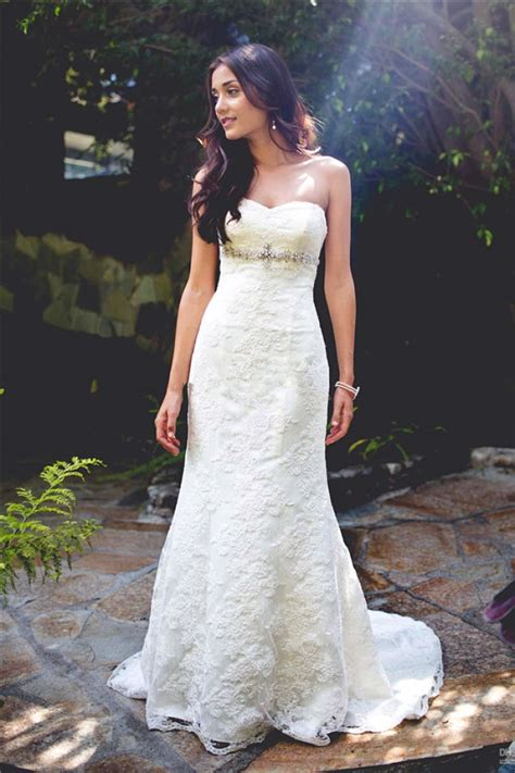 strapless lace wedding dress  simple summer outdoor