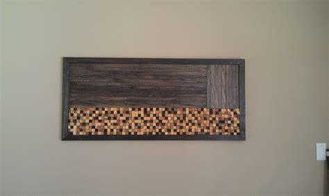 handmade wood mosaic wall art  built concrete