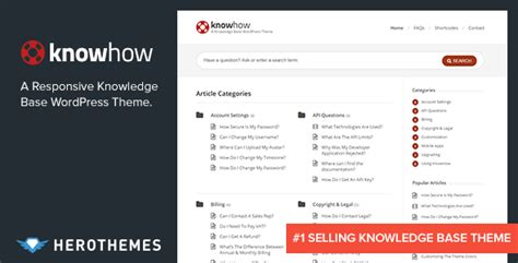 website templates for knowledge base knowhow a knowledge base wordpress theme by herothemes