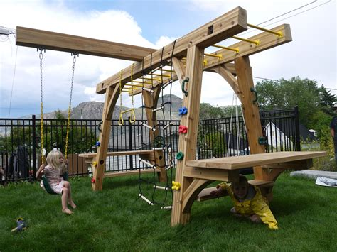 jungle gym backyard play structure for kids made out of western red cedar