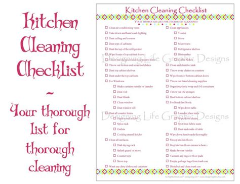 printable house cleaning checklist pdf kitchen cleaning checklist pdf printable home by designinglife