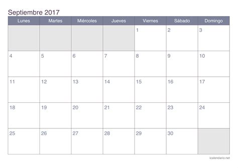 Calendario Octubre 2017 Sep Calendario Septiembre 2017 Para Imprimir Icalendario Net
