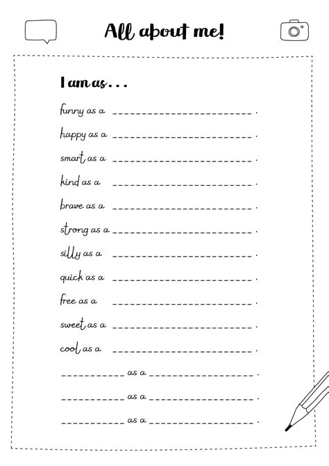 printable all about me time capsule activity