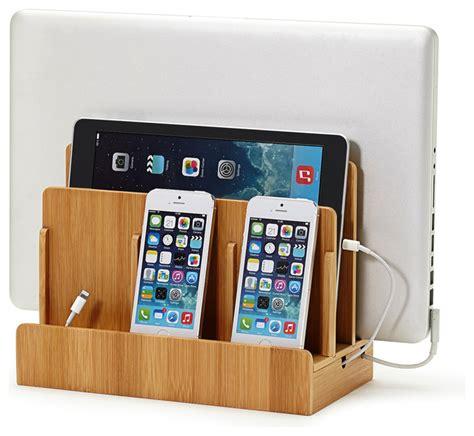 smartphone charging station transitional desk bamboo multi charging station modern charging stations