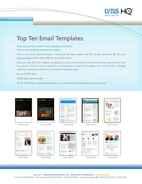 Top 10 Email Templates top ten email templates lyris