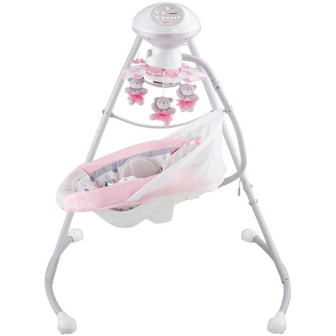 pink fisher price swing fisher price my little snugabear cradle n swing pink ebay