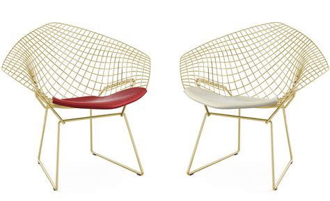 chair designer bertoia gold plated small diamond chair with seat cushion