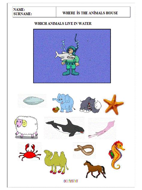 water animals worksheets kindergarten crafts actvities and worksheets for preschool toddler and kindergarten