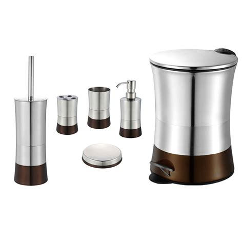 Bathroom Commode Accessories Brown 6 Bathroom Accessory Set Stainless Steel Trash Bin Toilet Brush Ebay