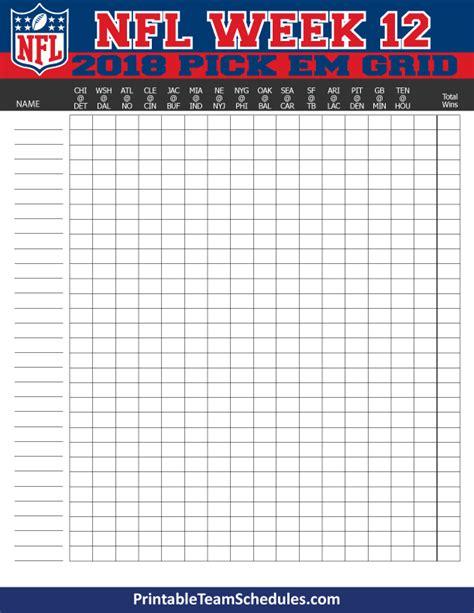 printable nfl schedule week 12 nfl weekly pick em grid week 12