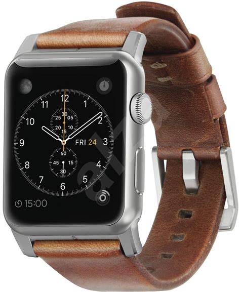 Nomad Horween Leather Apple 42mm Traditional Build Silver nomad horween leather traditional silver remienok