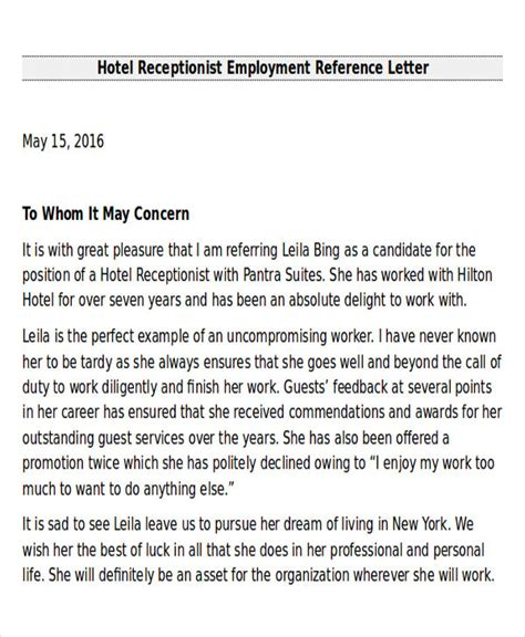 Recommendation Letter For Hotel Sle Employee Recommendation Letter 7 Exles In Word Pdf