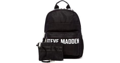 Steve Madden Backpack by Lyst Steve Madden Placement Print Backpack In Black