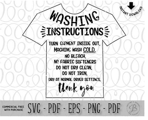 printable washing instructions garment care card svg htv wash instructions clothing care