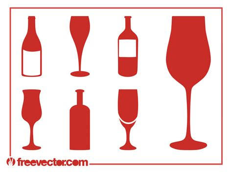 wine glass silhouette wine silhouettes set