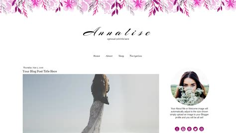 watercolor blog template for blogger analise template