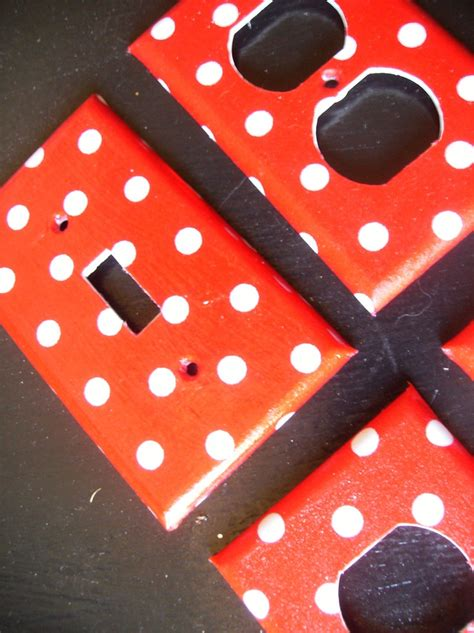 bathroom light switch covers red and white polka dot single light switch plate cover