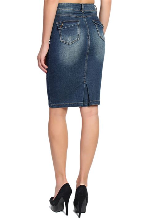 themogan vintage washed jean knee length midi denim pencil
