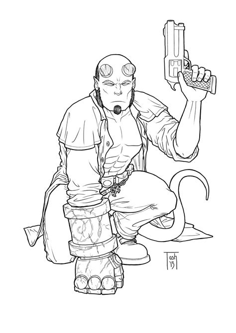 Hellboy Coloring Pages how to draw hellboy coloring