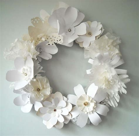 craft paper flower diy white paper flower wreath the sweetest occasion