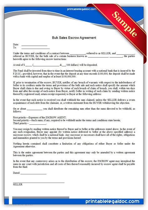 bank escrow account agreement free printable bulk sales escrow agreement form generic