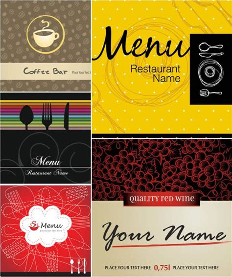 menu cover template funky restaurant menu templates vector free vector