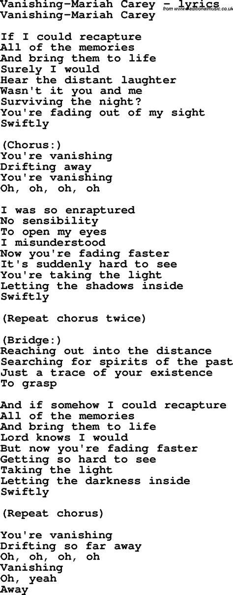 lyrics carey song lyrics for vanishing carey