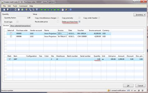 Credit Note Form Vendor Returns Dynamics Ax