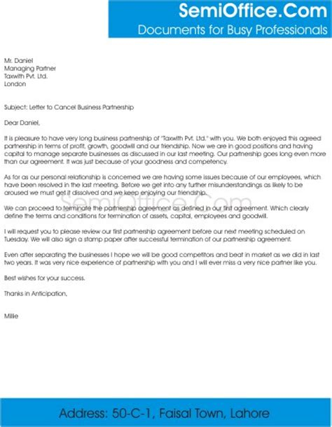 Letter Of Partnership Letter To Cancel Business Partnership