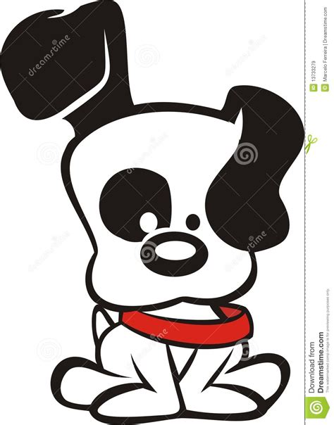 cartoon white black and white dog cartoon stock vector image 13733279