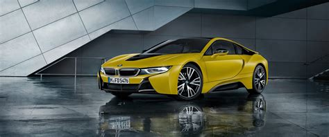 Car Side View Wallpaper by 3440x1440 Bmw I8 Yellow Side View Supercar