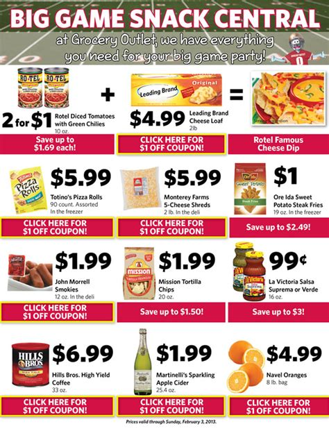 good website for printable grocery coupons grocery outlet great game day savings printable coupons
