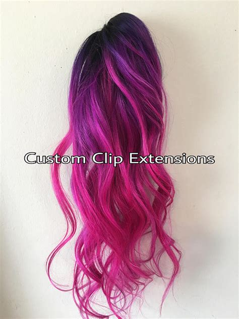 Hair Clip Ombre Pink Magenta U pink magenta clip in hair extensionsmagenta hair pink